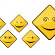 Smiley road sign icon set — Stock Photo