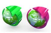 Green globe with round arrow — Stock Photo