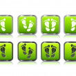Foot print in form of leaf icon set — Stock Vector
