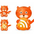 Rss icon set as cute tiger toy — Stock Vector