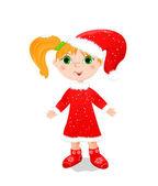 Lilla flickan i röd vinterkappa och hatt — Stockvektor
