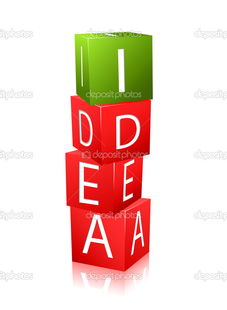Icon of cubes with letters and word idea. isolation on white background — Stock Vector #4226338