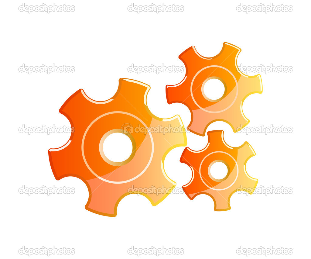 Orange gears isolated on whitebackground — Stock Vector #4226346