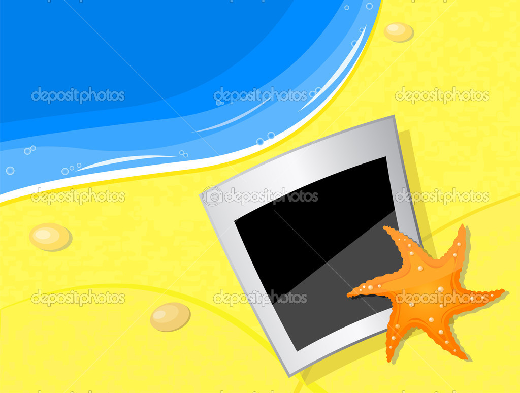 Vector illustration photo and fishstar on the beach coast — Stock Vector #4226561