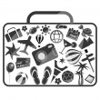 Black and white luggage composed from different travel elements — Stock Vector