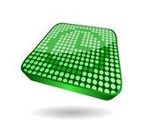 Icona verde orologio in vista prospettica — Vettoriale Stock
