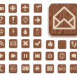 Dark wooden icon set with different signs — Stock Photo #4902208