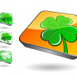 3d icon set with green clover — Stock Vector #4901932