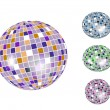 Colorful discoball icon set — Stock Vector