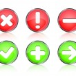 Stock Vector: Web icon buttons of validation