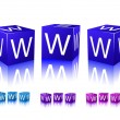 icons of www letters on blue and violet blocks — Stock Vector