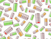 Seamless pattern with batteries charged in different level — Vettoriale Stock