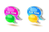 Colorful help bubble chat icon — Stock Vector