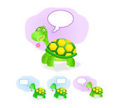 Thinking turtle icon set with chat box — Stock Vector