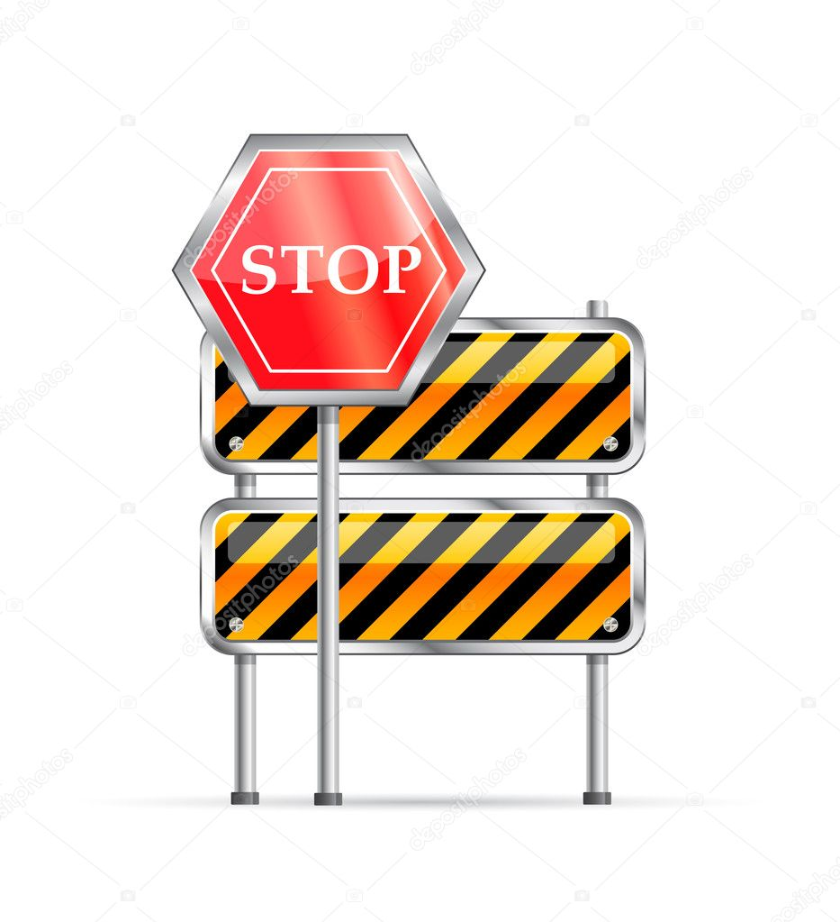 Stop road sign and striped barrier icon isolated on white background — Stock Vector #4901954