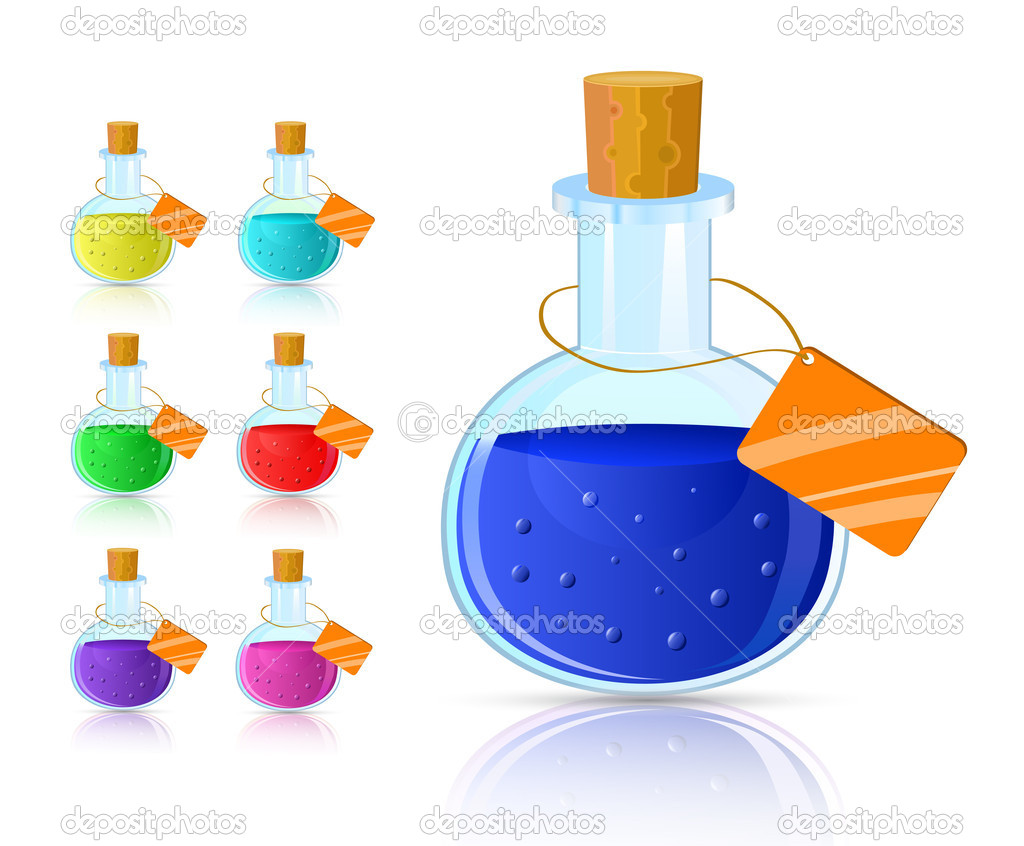 Colorful flask icon set with cork and tag isolated on white background  Stock Vector #4901977