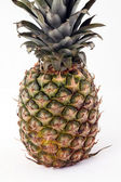 Uncut whole pineapple standing on white background — Stock Photo