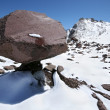Huge stone in form mushroom against snow mountains — Stock Photo #4094994