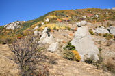 Bushes and rocks in Crimea mountains. Autumn. Demerdgi rocks. — Stock Photo