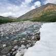 Stock Photo: Beautiful ice on mountain river,valley,sky,clouds.