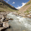Stream of mountain river. Caucasus valley. Elbrus area. - Foto de Stock