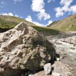 Huge stone near mountain river. Caucasus valley. - Foto de Stock