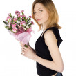 Casual Woman with Flowers — Stock Photo