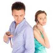 Casual Couple Talking on the Phone — Stock Photo