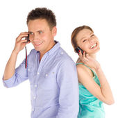 Joyful Couple Talking on the Phone — Stock Photo
