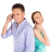 Joyful Couple Talking on the Phone — Stock Photo