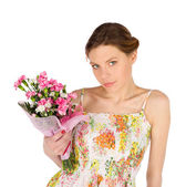 Sensual Young Woman with Flowers — Stock Photo