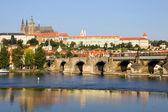 Prague Castle and the Charles Bridge — Stock Photo