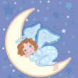 Stock Vector: Angel sleeping on moon