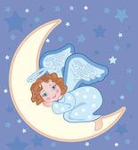 Angel sleeping on the moon — Stock Vector