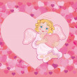 Angel with a heart — Imagen vectorial