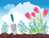 Spring flowerbed — Stock Vector
