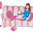 Royalty-Free Stock Vector Image: Girl with a magazine on a sofa