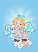 Angel with a sheep — Stock Vector