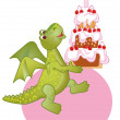 Birthday draco-girl - Stock Vector