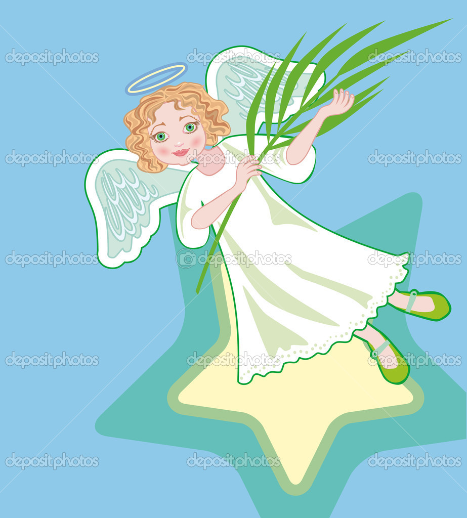 Angel with palm branches in hands — Stock Vector #5348364