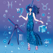 Girl-astrologer with sign of zodiac of Virgo character — Stock Photo