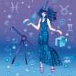 Girl-astrologer with sign of zodiac of Sagittarius character — Stock Photo
