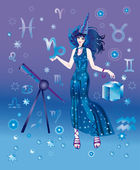 Girl-astrologer with sign of zodiac of Capricorn character — Stock Photo