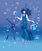 Girl-astrologer with sign of zodiac of Leo character — Stock Photo