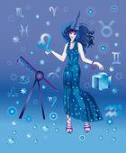 Mädchen-astrologe mit tierkreiszeichen leo charakter — Stockfoto