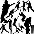 Stock Vector: Cricket players