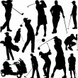 Golfers silhouettes collection - vector — Stock Vector #4804913