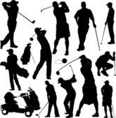 Coleção de silhuetas de golfistas - vetor — Vetor de Stock