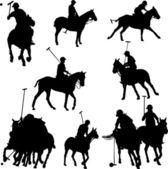 Caballos de jugadores de polo — Vector de stock