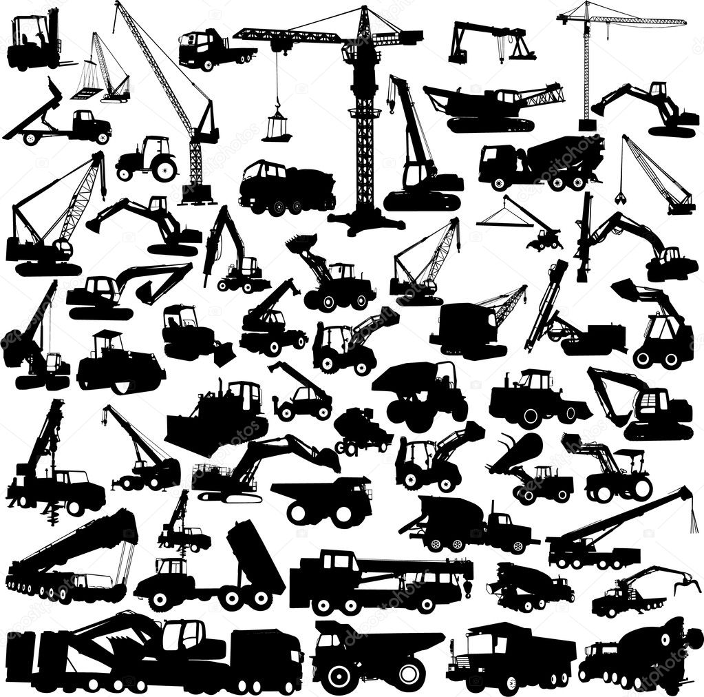 Construction machine big collection vector — Stock Vector #5195542